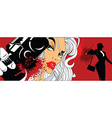 Comic book style woman with gun vector image vector image