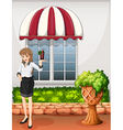 A waitress outside the restaurant carrying a tray vector image