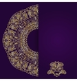 Abstract lilac background with gold lacy mandala vector image