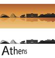 Athens skyline in orange background vector image