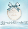 Merry Christmas card with a ribbon and winter vector image
