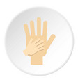 parent and child hands together icon circle vector image