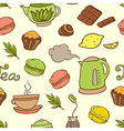 seamless pattern with teapot and cakes vector image