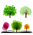 set of abstract trees with circles and square vector image