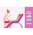 woman having legs epilation with laser hair vector image
