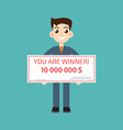 You are winner Winner man holding check vector image