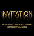 gold alphabetic fonts and numbers vector image