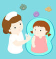 nurse giving vaccination injection to little girl vector image