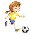 A young woman playing football vector image
