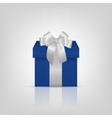 Blue square gift box with silver ribbon and bow vector image
