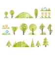 Handdrawn Trees and Flowers Set Collection of vector image