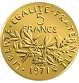 French money coin ffive francs obverse vector image vector image