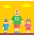 Happy father walking with his daughter and son vector image