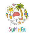 Summer vacation circle shape background vector image