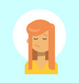 female closed eyes emotion profile icon woman vector image
