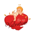 Happy valentine day Heart with cherub vector image