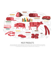 Meat Market Products Flat Infographic Poster vector image