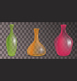 set of transparent decorative vases of different vector image