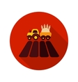 Tractor on field flat icon with long shadow vector image