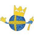 Brick ball with Swedish flag vector image