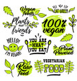 organic and vegan logo labels vector image vector image