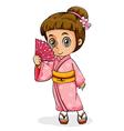 An Asian girl wearing a kimono vector image