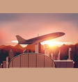Airport with sunset background vector image