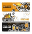 Crystals And Stones Horizontal Banners Set vector image