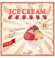 vintage banner with currant ice cream vector image
