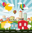 Abstract Colorful City - Town Flat Design wi vector image