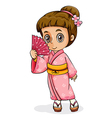 An Asian girl wearing a kimono vector image