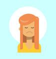 female sad emotion profile icon woman cartoon vector image