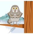 Grey Owl on the winter tree flat background vector image