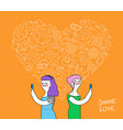 online love lesbian couple with internet icons vector image