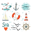 Sea set of 9 nautical elements isolated on white vector image