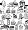 Set of doodled houses vector image