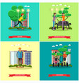set of modern transport concept posters in vector image