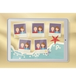 Tablet with pictures placeholders on the beach vector image