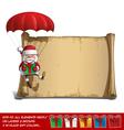Happy Santa Scroll Parachute Holding a Gifts vector image