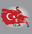 turkey soccer player with flag as a background vector image