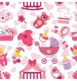 Newborn Baby girl seamless pattern vector image vector image
