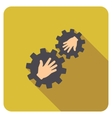 Gears Contact Flat Rounded Square Icon with Long vector image