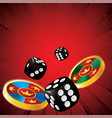 casino chips dice vector image vector image