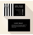 simple zebra stripes black business card design vector image