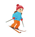 happy funny girl skiing downhill winter sport vector image
