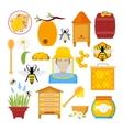 Honey Icons Set with Bee Beekeeper Honeycomb vector image