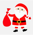 santa claus carrying sack gift bag red hat vector image
