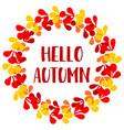 hello autumn wreath card vector image