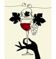 a hand holding a wine glass with grape vector image