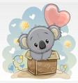 birthday card with a cute koala and balloon vector image